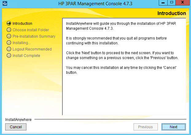 Introduction screen on 3PAR management console install