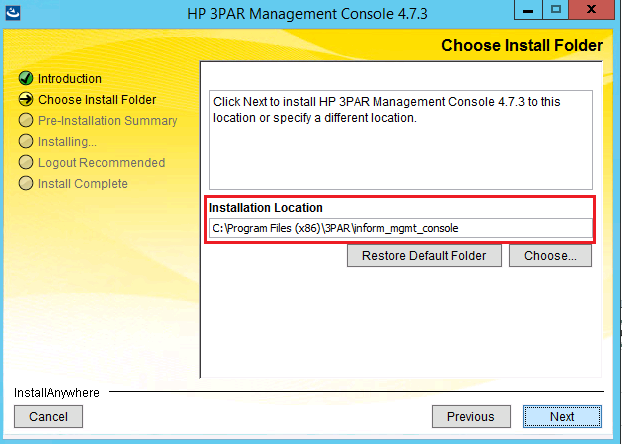 Choosing file location for installation