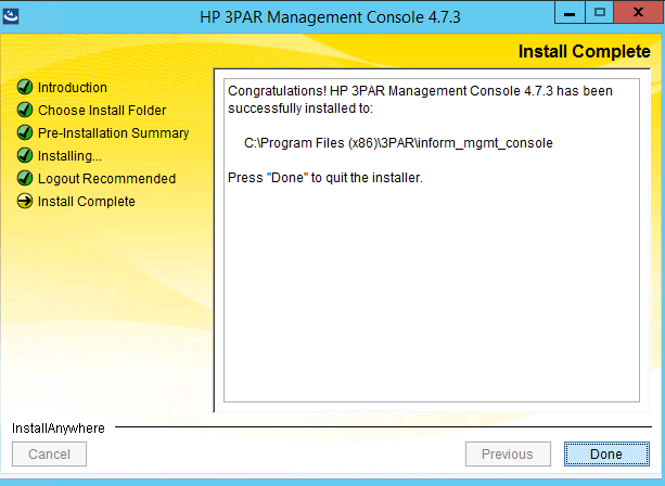 Screen confirming 3PAR Management console 4.7 has been installed