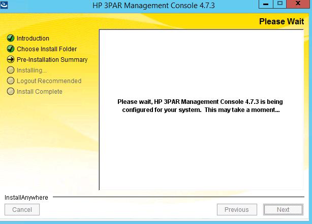 Screen displaying progress of install