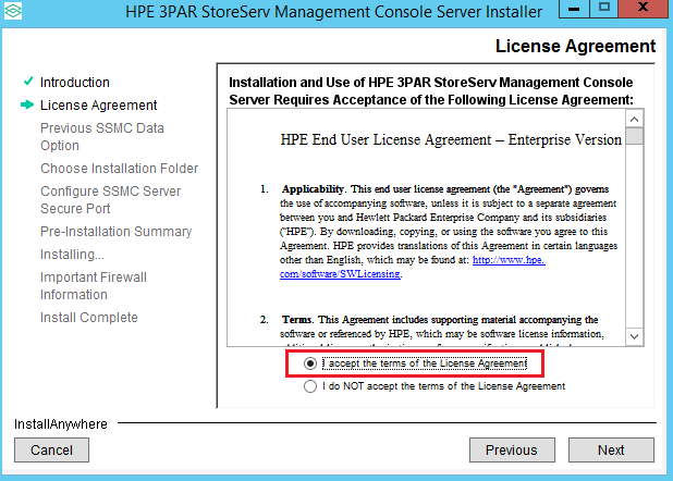 Accepting the HPE license agreement