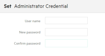 Dialog box in which you choose the SSMC administrator username and password