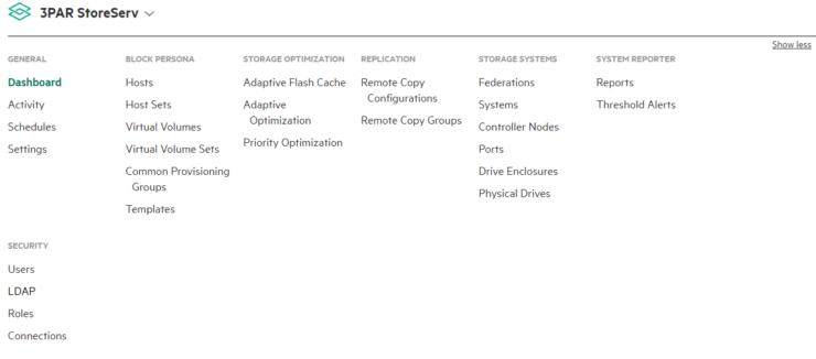 3PAR Console main menu maximised