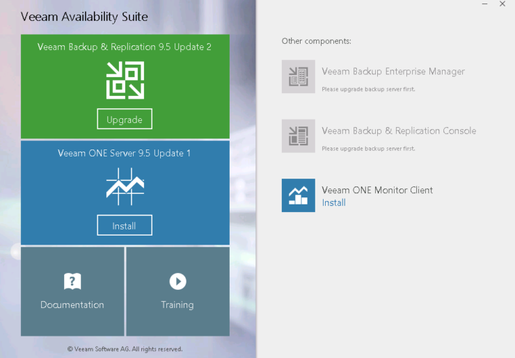 Veeam availability suite upgrade screen