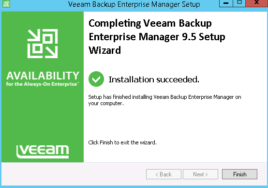Confirmation veeam backup enterprise manager 9.5 setup is complete