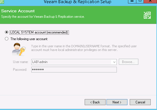 selecting the service account to use with Veeam
