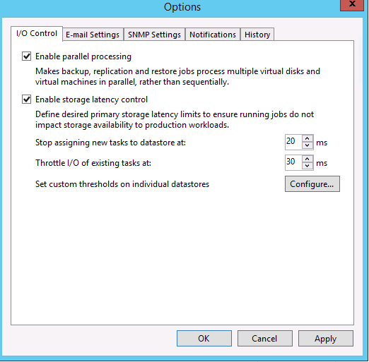 Options screen to enable parallell processing and storage latency control