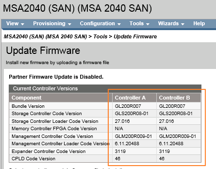 checking firmware version for the MSA controller