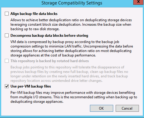 Changing a Veeam backup chain to use per-vm backup files