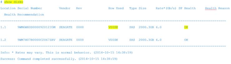 show disks output