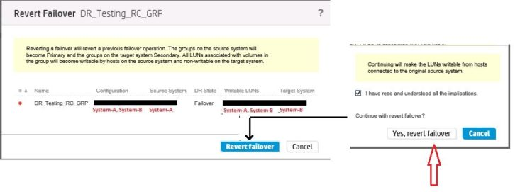 Confirm revert failover