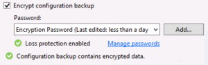 Encrypted veeam configuration backup