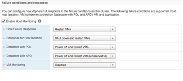 vsphere metro cluster HA settings