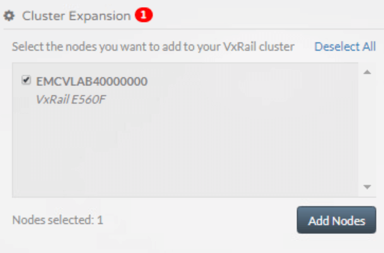 Adding node to VxRail via VxRail Manager