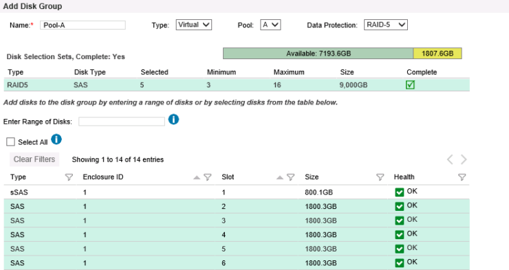 HPE MSA Create Disk Pool