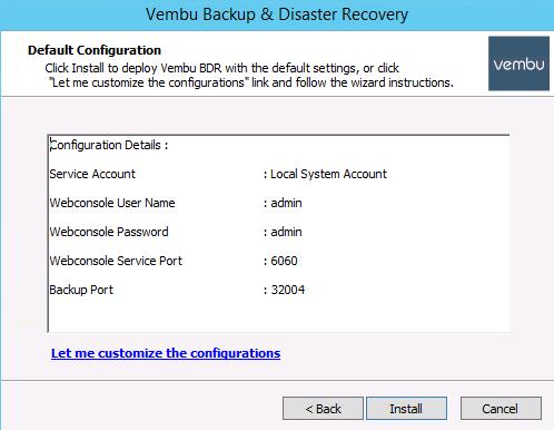 Vembu standard system settings