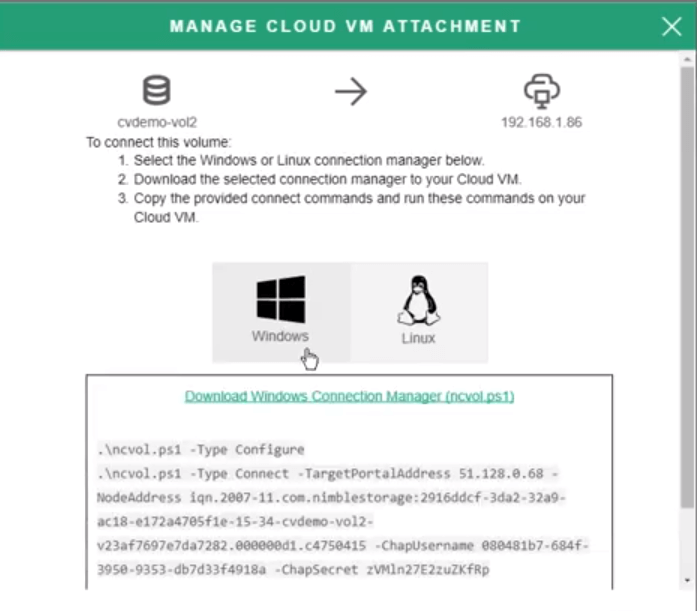 cloud volumes connection script