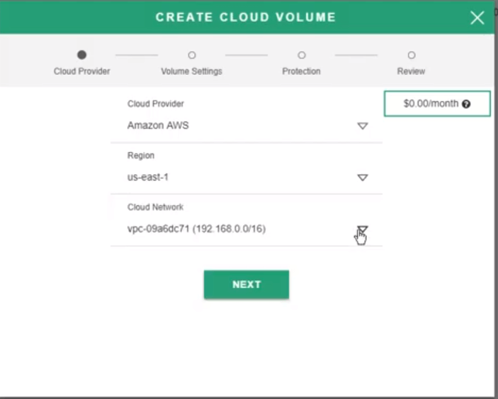 create cloud volume 1